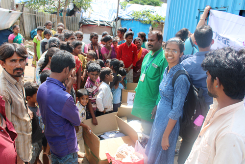 Cloth distribution drive for residents of the community