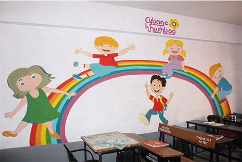 School painting at Government High School, Shaikpet